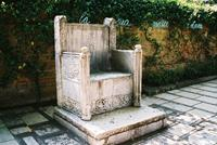 Ancient throne, courtyard, Guggenheim, Grand Canal